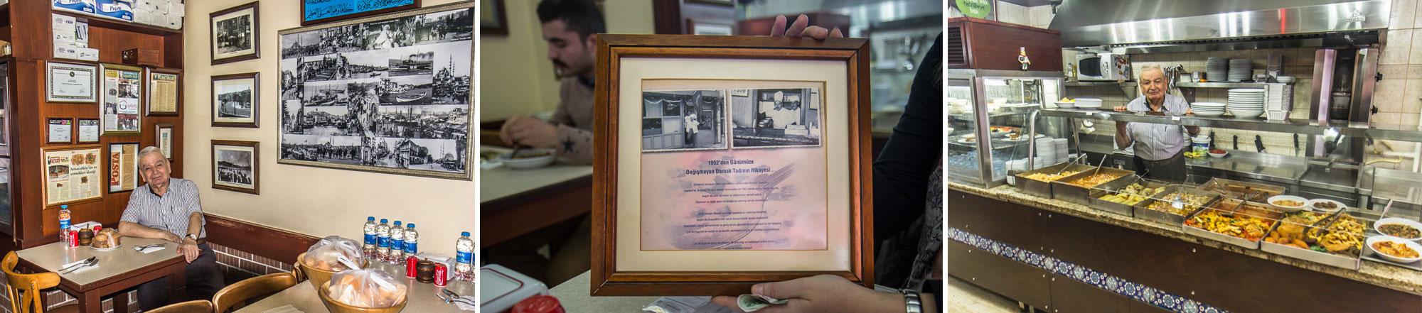 Hussein Çelebi en el interior del restaurante